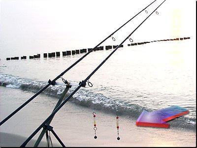 Bissanzeiger beim brandungsangeln mit einem Einhänger fischen